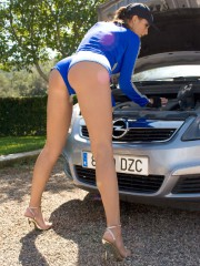 Busty Car Girl Outdoors - Picture 2