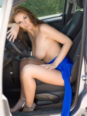 Busty Car Girl Outdoors - Picture 7